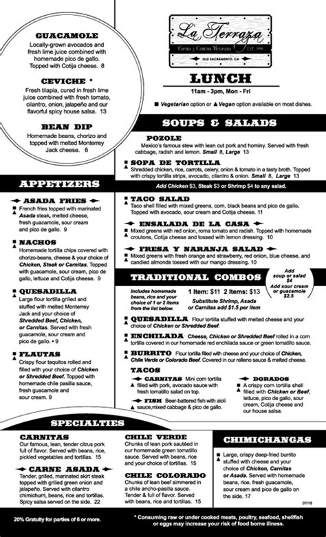 Menus | La Terraza Mexican Restaurant