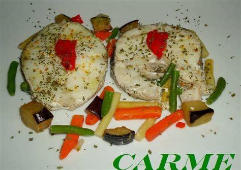 Merluza con verduras a la papillotte en microondas Receta ...
