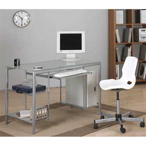Mesa de escritorio cristal transparente y acero   Estructura: