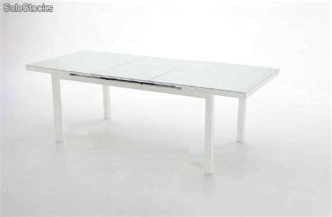 Mesa de terraza y jardin aluminio blanco Taha extensible
