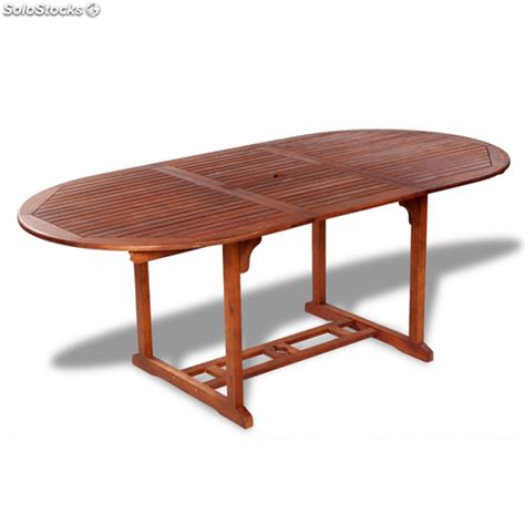 Mesa oval extensible de madera para exteriores