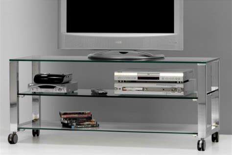 Mesa TV - cristal 10mm - acero pulido