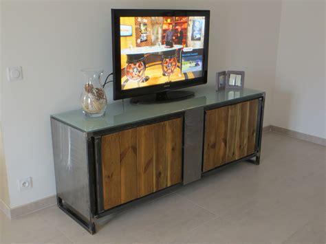 Meuble TV en fer, bois et verre | SFC Ferré Art