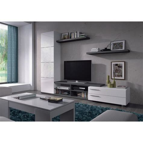MEUBLE TV   HI FI ADHARA Meuble TV mural 240 cm blanc/gris ...
