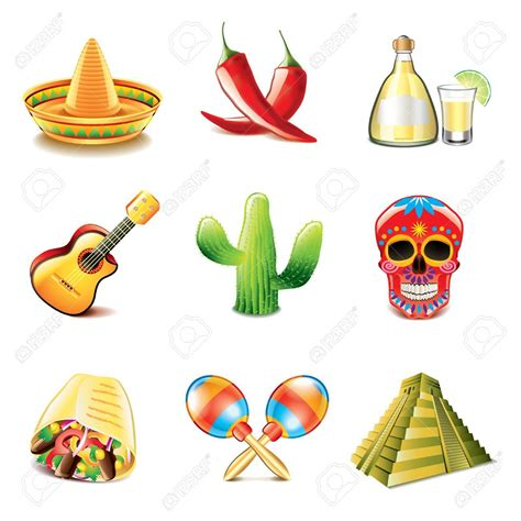 Mexican Culture Icons Photo-realistic Vector Set Royalty ...