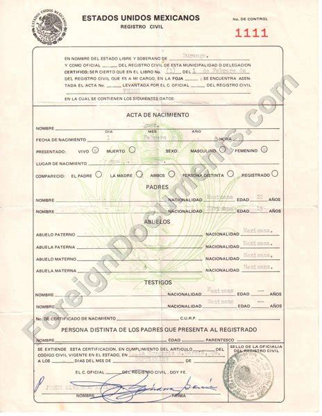 mexican marriage certificate translation template ...