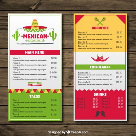 Mexican menu restaurant with colors and mexican hat Vector ...