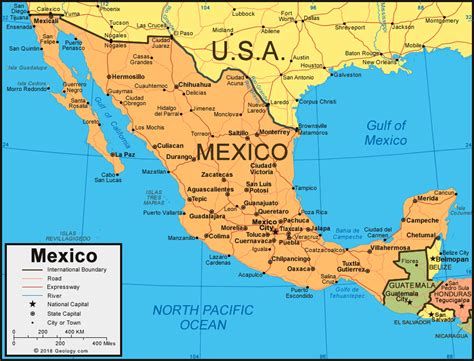Mexico Map and Satellite Image