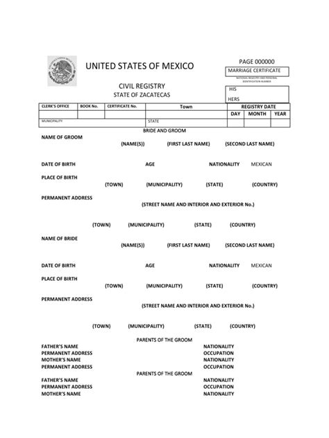 Mexico Marriage Certificate