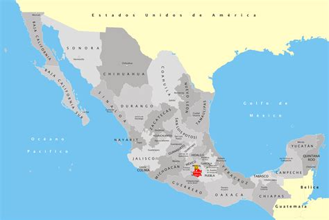 Mexico States Map   Mexico • mappery
