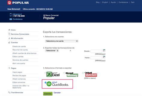 Mi Banco Comercial y QuickBooks® - Popular - Centro de Ayuda