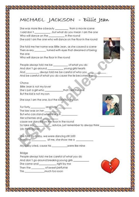 Michael Jackson   Billie Jean   ESL worksheet by lotas