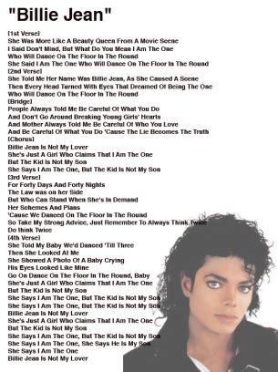 Michael Jackson Billie Jean Lyrics Sheet | Kedvenc zenéim ...