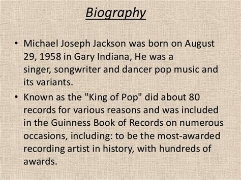 Michael Jackson Biography  Abridged .