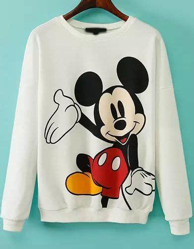 Mickey Print White Sweatshirt en 2019 | ROPA Y ACCESORIOS ...