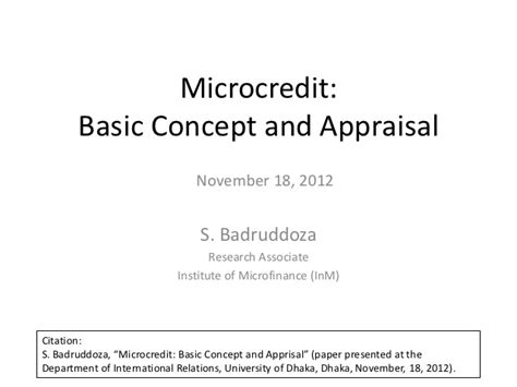 Microcredit: Basic Concept and Apprisal