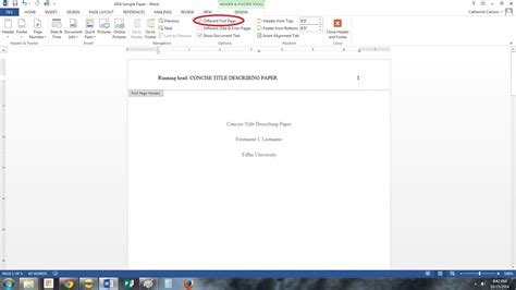 Microsoft Word Apa Running Head Page Number ...
