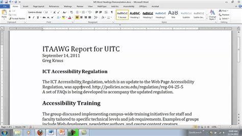 Microsoft Word Headings - YouTube