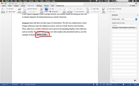 Microsoft Word Mac: APA 6th style referencing, page ...