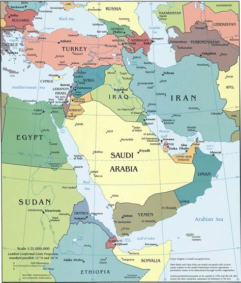 Middle East Political Map, Middle East Country Political ...