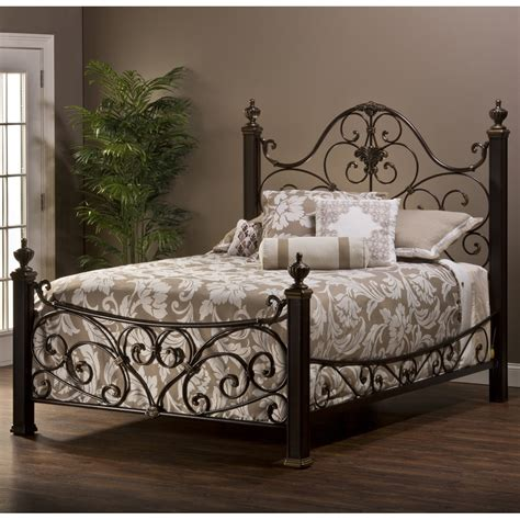 Mikelson Mixed Wood & Iron Bed in Aged Antique Gold ...