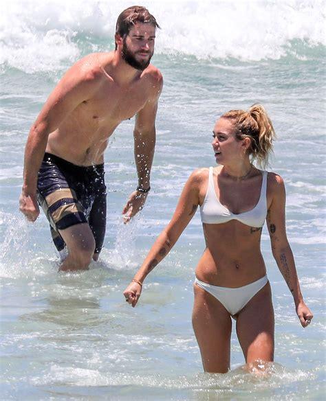 Miley Cyrus Wears White Bikini to Beach With Liam ...