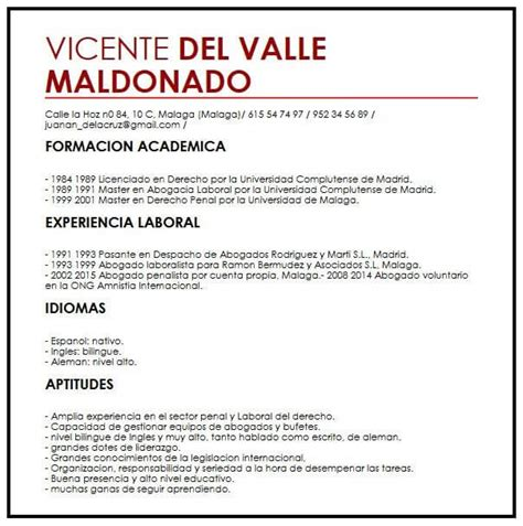 Modelo CV Espanol | Muestra curriculum Vitae
