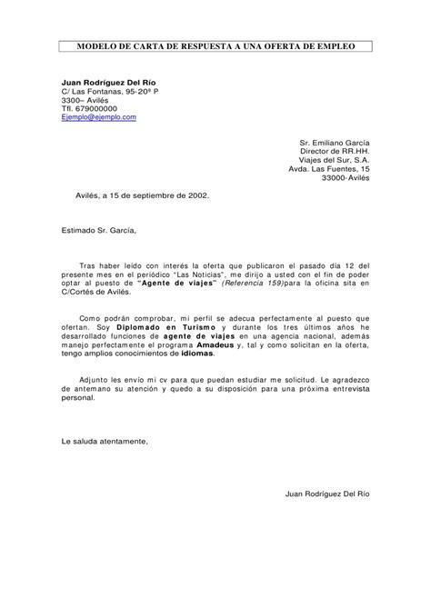 MODELO DE CARTA DE RESPUESTA A UNA OFERTA DE EMPLEO Juan ...