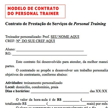 Modelo de Contrato Para Personal - Kit Personal Trainer