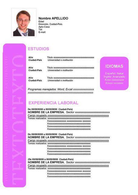 Modelo De Curriculum Vitae En Español - Modelo De ...