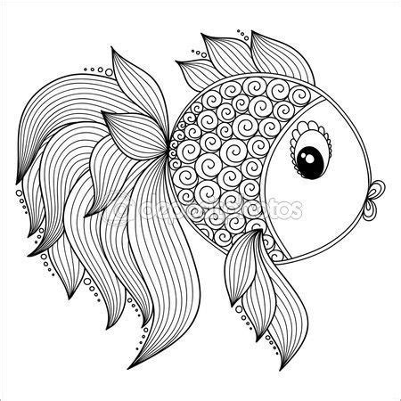 Modelo para libro de colorear. Cute dibujos animados peces ...