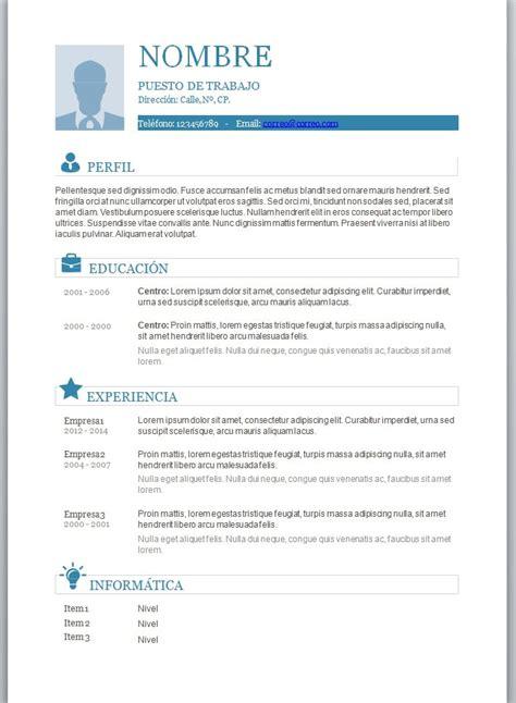 Modelos de curriculum vitae en word para completar