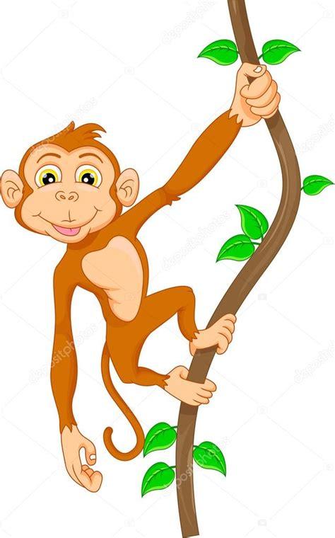 Mono de dibujos animados en árbol — Vector de stock ...