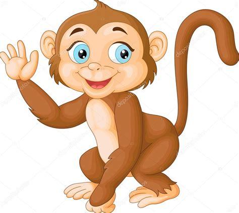 Mono gracioso de dibujos animados agitando la mano ...