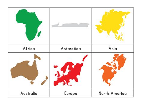 Montessori Continents 3 Part Cards   Gift of Curiosity
