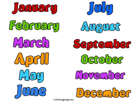 Months of the Year clip art | Coloring Page