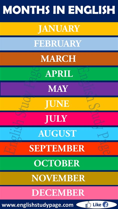 Months of the Year - English Study Page