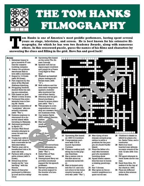 Movie Fan's Printable Crossword PuzzleCUSTOM DIGITAL | Etsy