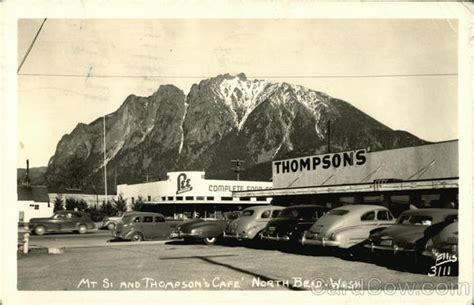 Mt. Si and Thompson's Cafe North Bend, WA Postcard