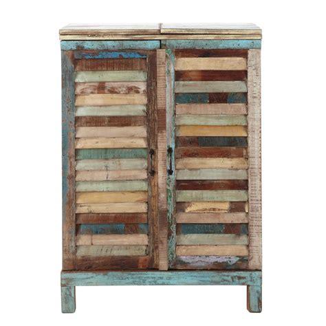 Mueble bar de madera reciclada de colores An. 75 cm ...