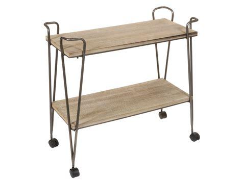 Mueble carrito de forja y madera de abeto estilo industrial