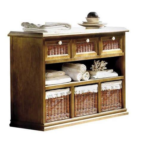 Mueble cocina con cajones de madera y frontales de mimbre ...