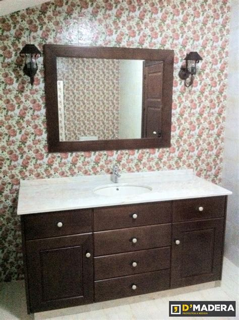 mueble de baño rústico en pino tintado