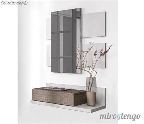 Mueble recibidor con espejo incluido blanco y fresno de ...