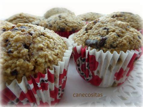 Muffins de avena, plátano y chocolate   Recetariocanecositas