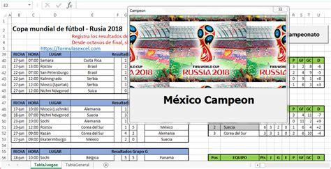 Mundial de Fútbol en Excel – Rusia 2018 – Formulas Excel