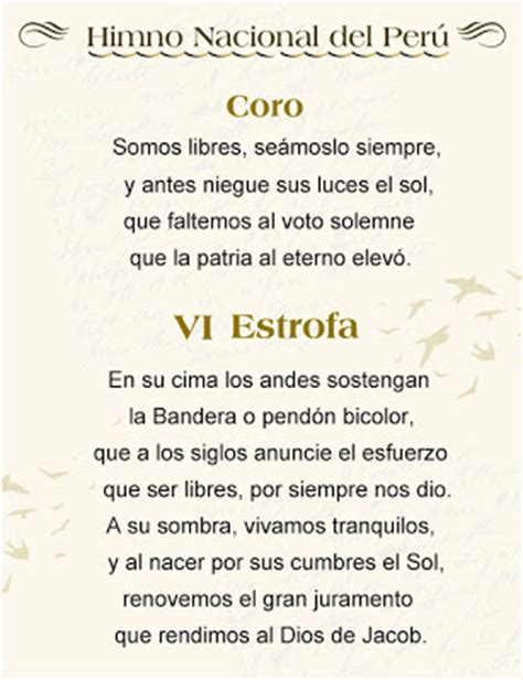 Mundo ACESP: Descarga el Himno Nacional del Perú con la VI ...