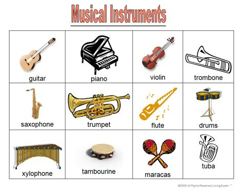 Music Instruments Names - Cliparts.co