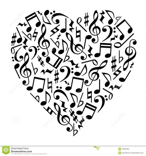 Music Notes Heart stock vector. Image of clip, silhouette ...