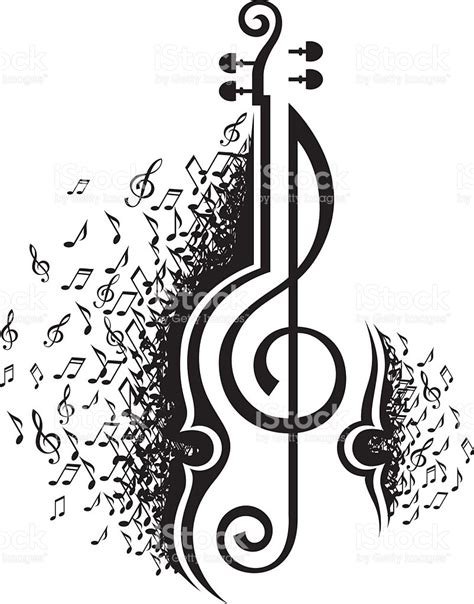 Musical Notes And Violin stock vector art 497031302 | iStock